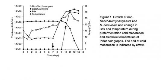 Figure 1 - Growth of non-Saccharomyces yeasts and S. cerevisiae and change in Brix and temperature during prefermentation cold maceration and alcoholic fermentation of Pinot noir grapes.